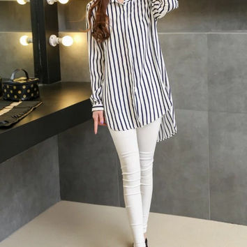 Summer Women's Fashion Stripes Blouse [6513106503]