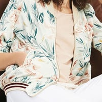 Multicolor Crane And Bamboo Print Long Sleeve Bomber Jacket