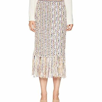 Adam Lippes Handknit Tweed Midi Skirt with Fringe
