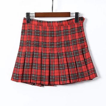 2018 new College style high waist British plaid pleated skirt women's golf sports lined skirt tennis skirt
