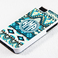 Retro Aztec Green and White Ethnic Monogram Chevron Pattern iPhone 5 + 4S + 4 + 5C + 5S Tough Rubber and Soft Case, iPod 5 + 4 Case