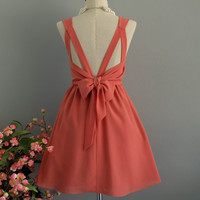 A Party V Backless Dress Echo Peach Dress Dusty Peach Prom Party Dress Cocktail Dress Echo Peach Wedding Bridesmaid Dresses XS-XL