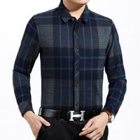 Plaid Basic Collar Long Sleeve Shirt in Red and Blue