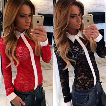 Turn-down Collar Lace Patchwork Hollow Out Slim Blouse