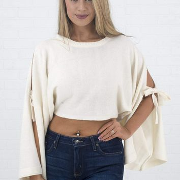 Women's Cropped Sweater with Bell Sleeves