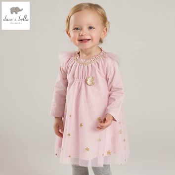 DB5032 davebella spring girls mesh dress princess pink dress fancy dress baby girls boutique dress
