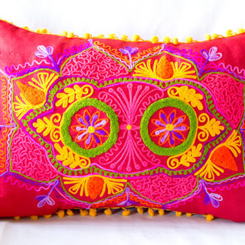 Red Turkish Traditional Decorative Pillow, Bohemian Cushion Cover, Floral Decorative Pillow, Embroidered Pillow, Boho Pillow Case