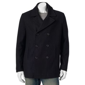 Chaps Double-Breast Wool Peacoat - Men (Black)