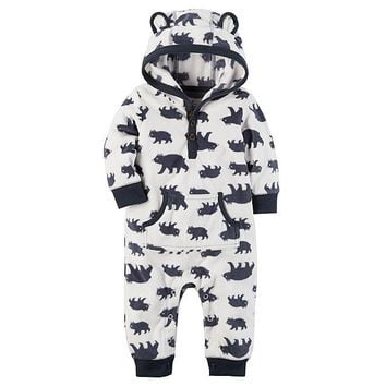 Carter's Infant Boys' Hooded Fleece Jumpsuit - Bear