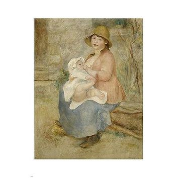 AUGUSTE RENOIR Child at the breast painting FINE ART poster 24X36 prized
