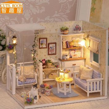DIY Doll House Miniature Wooden Dollhouse Miniaturas Furniture Toy House Doll Toys for Gift Home Decor Craft Figurines H13