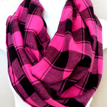 Perfectly Pink Buffalo Plaid Infinity Scarf Womens Fall Scarves Girls Fashion Accessories Trending Plaid Circle Scarf Winter Scarves