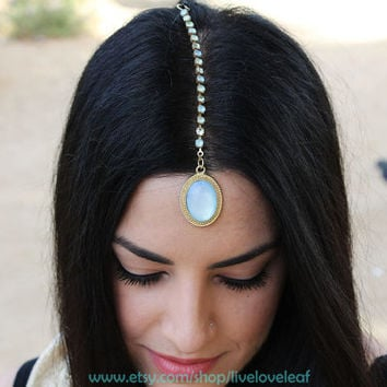 Mint crystal Tikka Maang Forehead Jewelry, Indian Ethnic Bindi head piece, Mod Traditional Wedding Exotic Jewellery Trendy Fashion Accessory