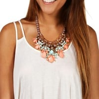 Gray Stone Drop Statement Necklace