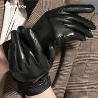 Gours Touch Screen Gloves Women's Winter Genuine Leather Gloves Fashion New Brand Black Goatskin Mittens Plus Velvet Warm GSL034