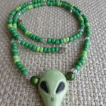 Green Space Alien Necklace OOAK Martian Spaceman Bead Necklace