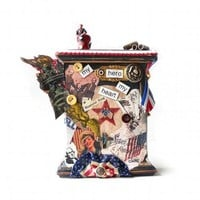Mixed Media Patriotic Assemblage, Red by alteredecodesigns on Zibbet