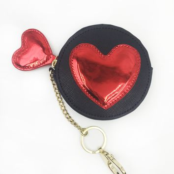 Red Heart Applique Round Coin Purse Keychain