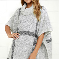 Rowan Grey Plaid Poncho
