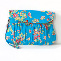 Clutch Purse in Floral Blue, red, orange and yellow