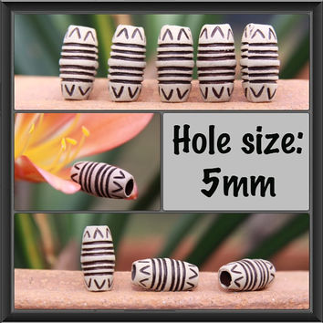 12 Antique Style Tube Acrylic DREADLOCK BEADS 5mm Hole Dread Hair Beads NEW