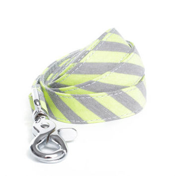 Dog Leash - Light Grey and Neon Green Striped Jersey