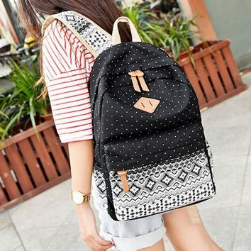 Dots Ethnic Canvas Large Backpack Very Light Travel Bag School Bookbag Gift