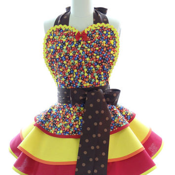 Retro Apron - M&M Womans Aprons - Vintage Apron Style - Candy Pin up Chocolate Rockabilly Cosplay Lolita