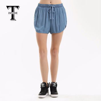 T-Inside 2016 Women Shorts Adjustable Strap Elastic Waist Jean Fabric with Pockets Casual Daily Wear Women's Shorts Brand New