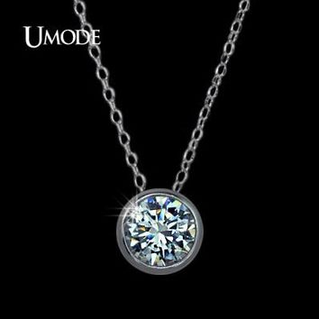 UMODE Simply Small Round 1 carat Cubic Zirconia Solitaire Pendan f54d14e75a