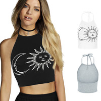 Women's Sleeveless Sun Moon Print Halter Neck Tied Crop Vest Top T-Shirt