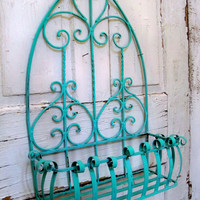 Shabby chic aqua turquoise wrought iron planter or bathroom caddy Anita Spero