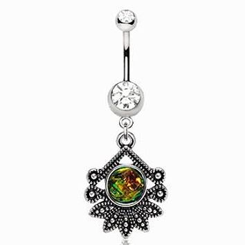 316L Stainless Steel Tropical Flower Dangle Navel Ring