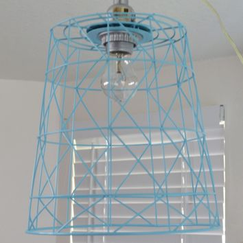 Aqua Teal Metal Wire Basket Shade Swag Lamp