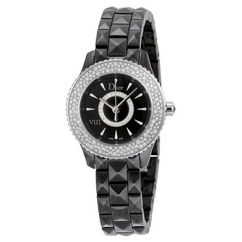 Dior VIII Black Dial Black Ceramic Ladies Watch CD1221E5C001