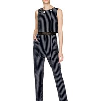 Sue Navy Striped Jumpsuit