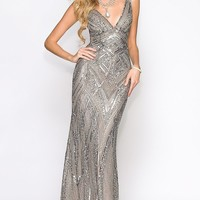 V-Neck Open Back Sequin Formal Gown