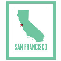 My Heart Belongs in San Francisco - Geography City Poster - Art Print - 8 x 10 Wall Decor