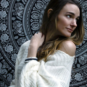 Clean Slate Oversized White Knit Sweater
