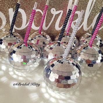 Party Cup w Lid Custom Personalized Bling Crystal Straw Bachelorette Birthday Disco Ball Plastic Tumbler Rhinestone Club Cup Bridesmaid Gift