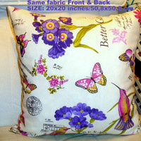 April in Paris – Birds butterflies French postcard pillow 20x20