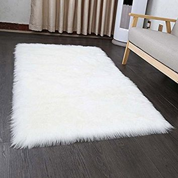 Pinkday Faux Sheepskin Area Rug Home Rugs Jungle Sheep Skin Rug Fluffy Rug Pure White 30 by 54 Inch