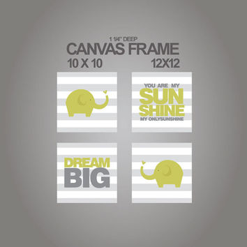 Canvas prints for nursery-you are my sunshine-Dream big elephant nursery canvas set of 3 - 1-1/4'' deep frame- ready to hang