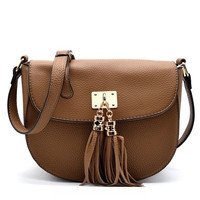 Stone Pebble Vegan Crossbody & Tassel Accent