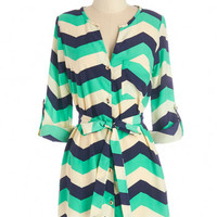 ModCloth Long Long Sleeve Believe It or Notorious Tunic in Chevron