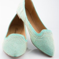 Studded Pointed Flats - Mint