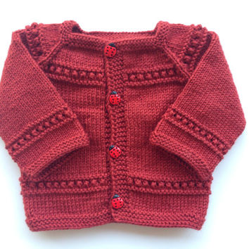 Hand knitted dark red cardigan , sweater for3-6 month old baby boy or girl