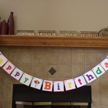 Happy Birthday banner primary colors wall decor boys girls adults