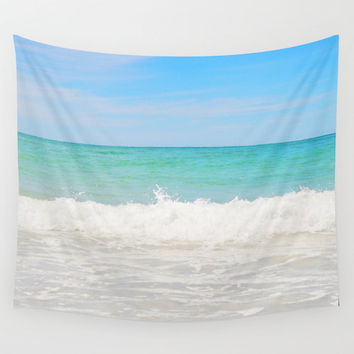 Beach Anna Maria 4 - Wall Tapestry, Pastel Blue & Green Ocean Surf Style Coastal Backdrop Accent Tapestry Hanging in Small, Medium and Large