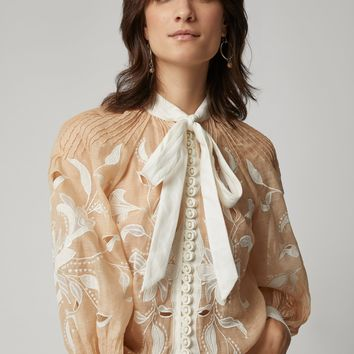 Nude Sheer Embroidered Blouse
